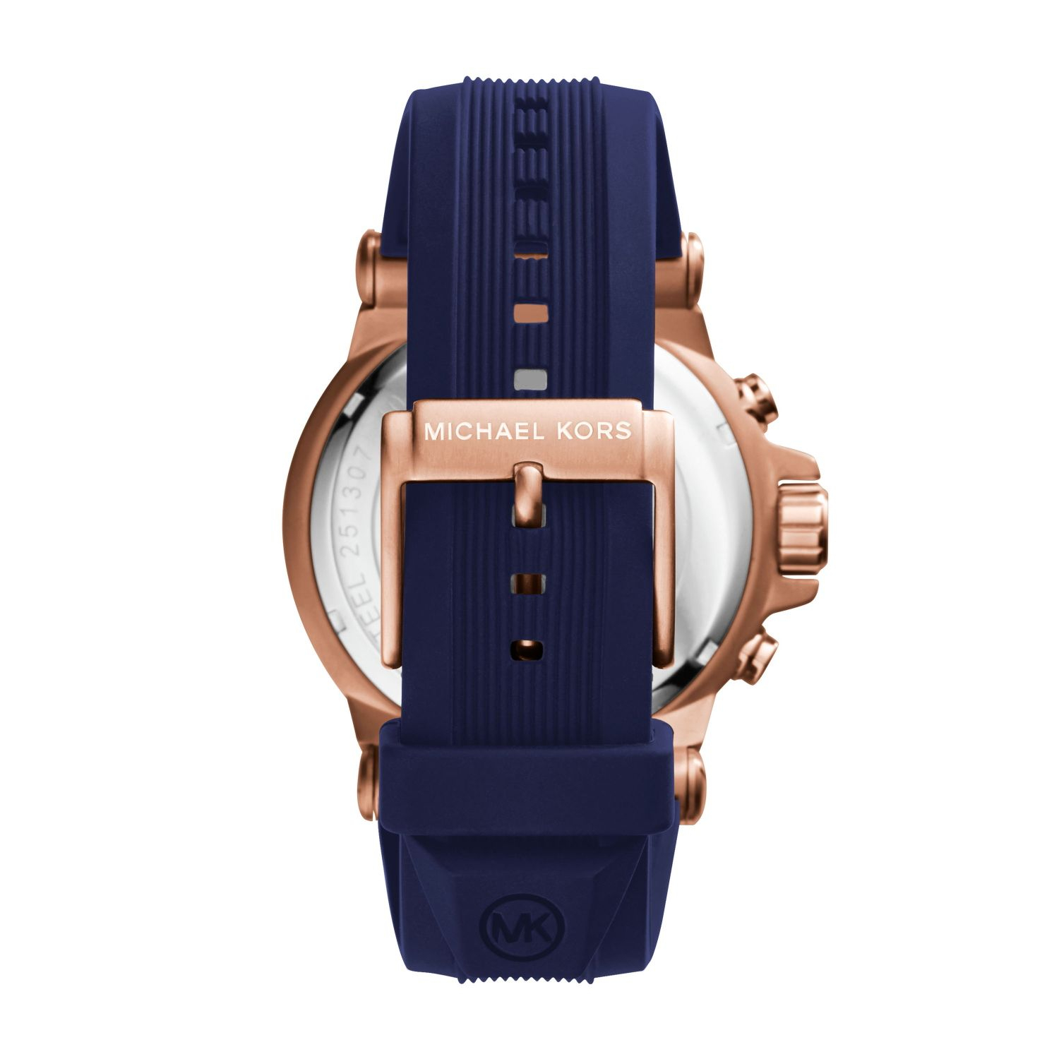 michael kors dylan rose goldtone silicone watch in blue