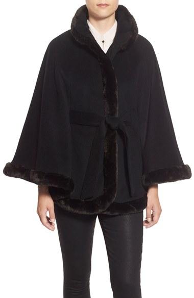 Lyst Ellen Tracy Faux Fur Trim Wool Blend Cape In Black