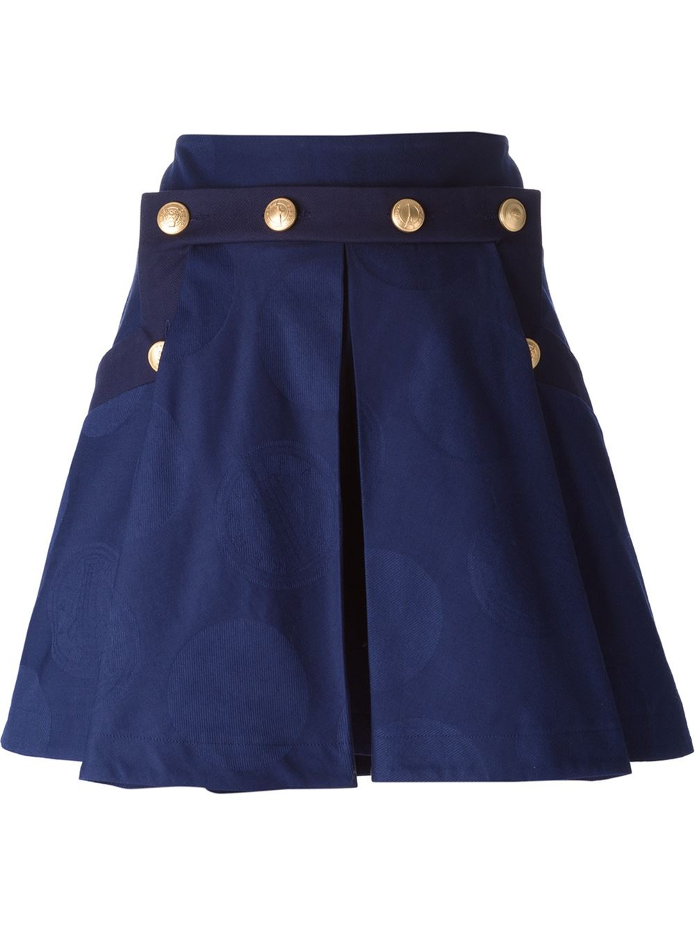 kenzo buttoned pleated skirt in blue lyst