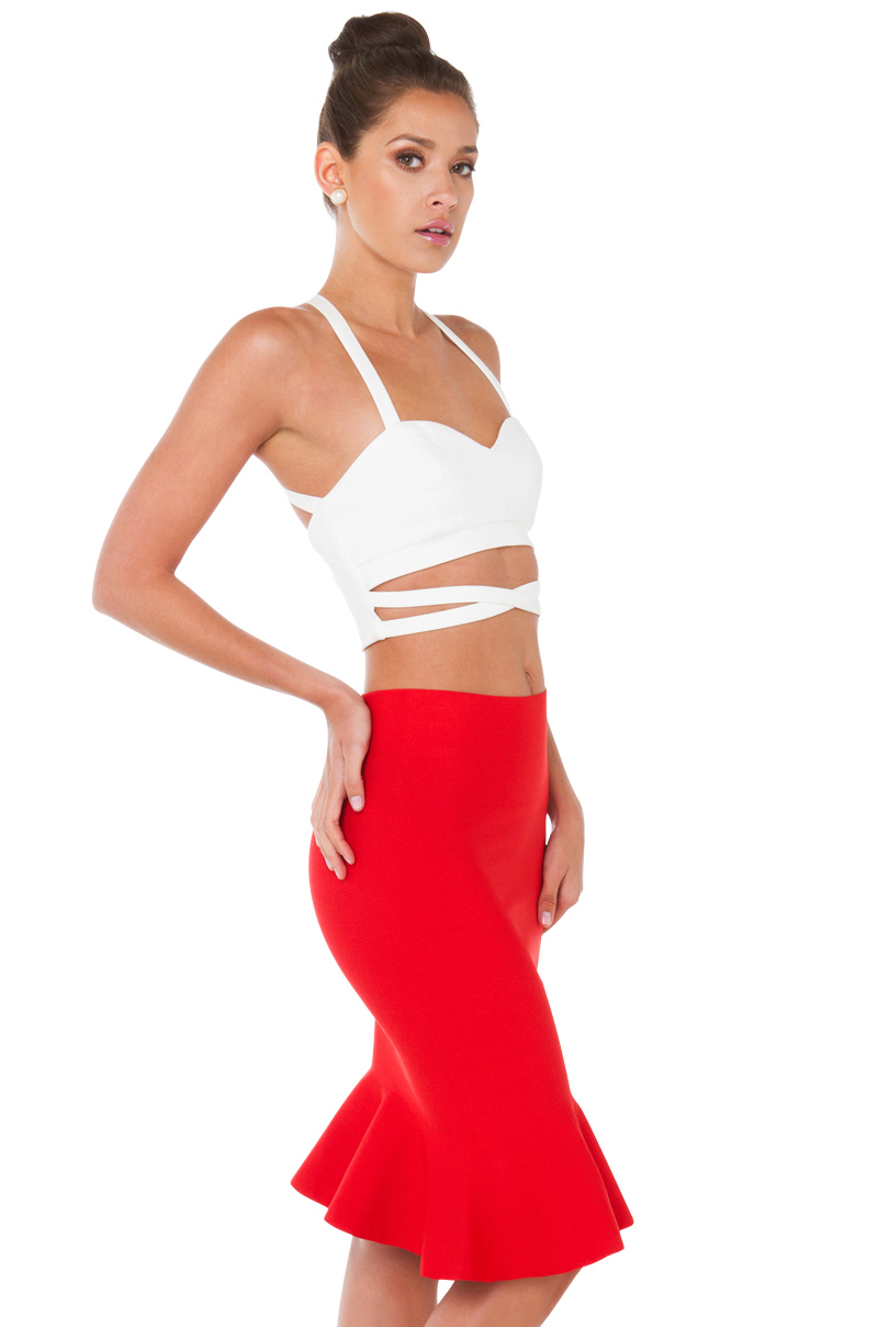 dearly beloved bandage trumpet midi skirt in