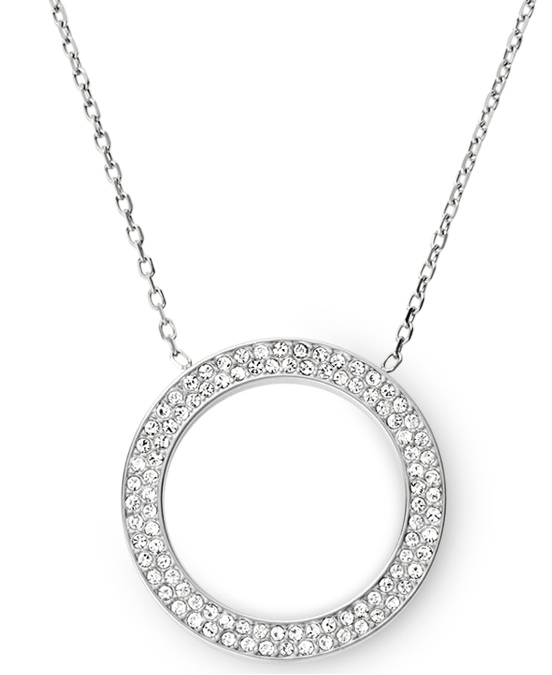 Michael Kors Brilliance Silver Pave Pendant Necklace in Metallic