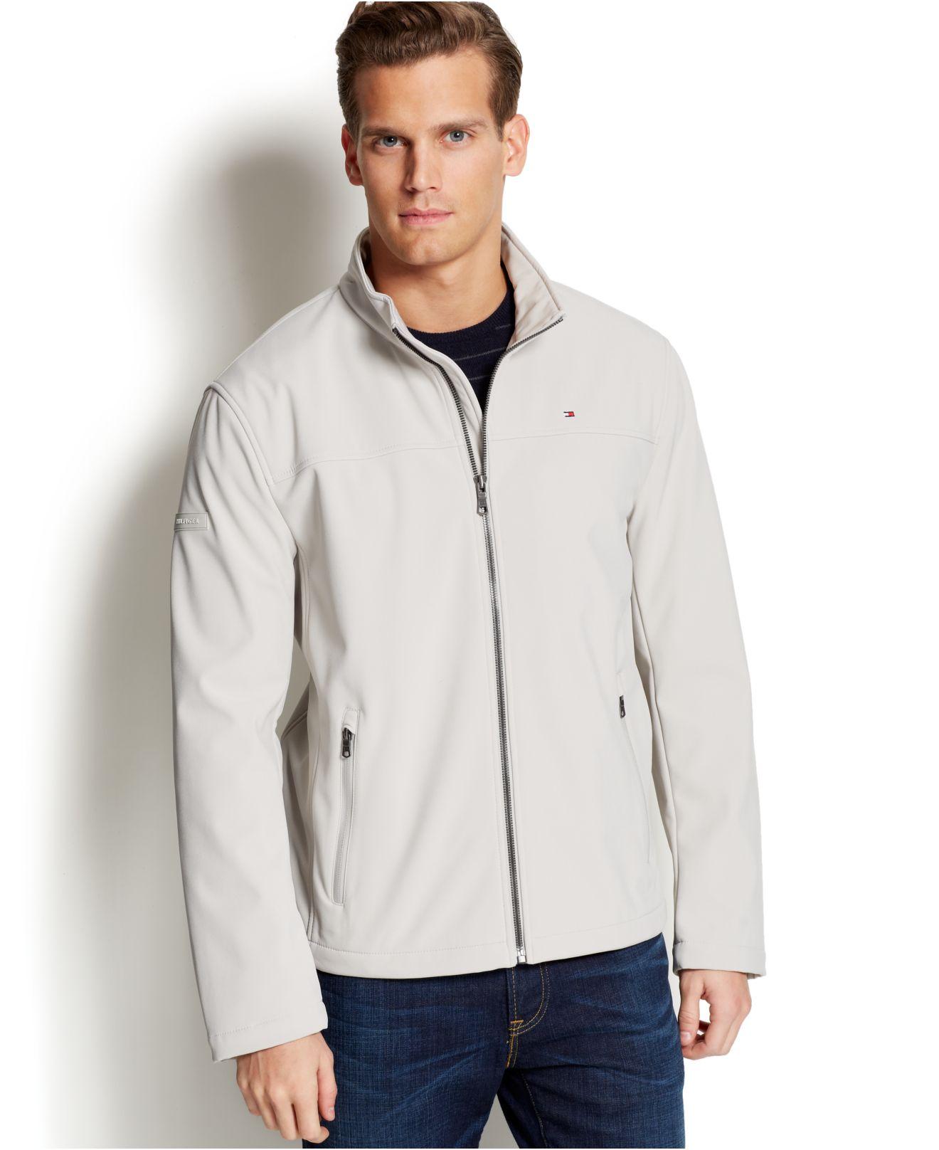lyst tommy hilfiger fleece lined soft shell jacket in natural for men. Black Bedroom Furniture Sets. Home Design Ideas