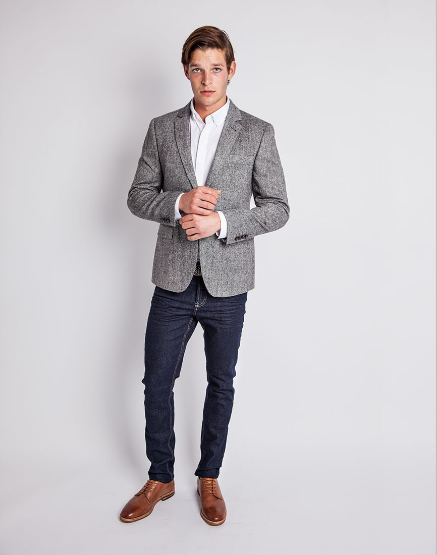 The idle man Tweed Blazer In Slim Fit in Gray for Men | Lyst