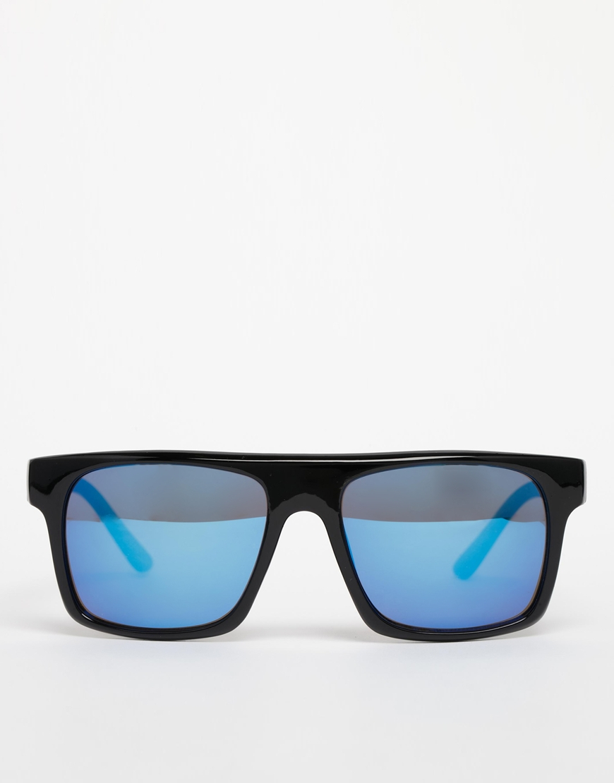 93ed75c202e Lyst - ASOS Flat Brow Sunglasses with Color Mirror Lens in Black for Men