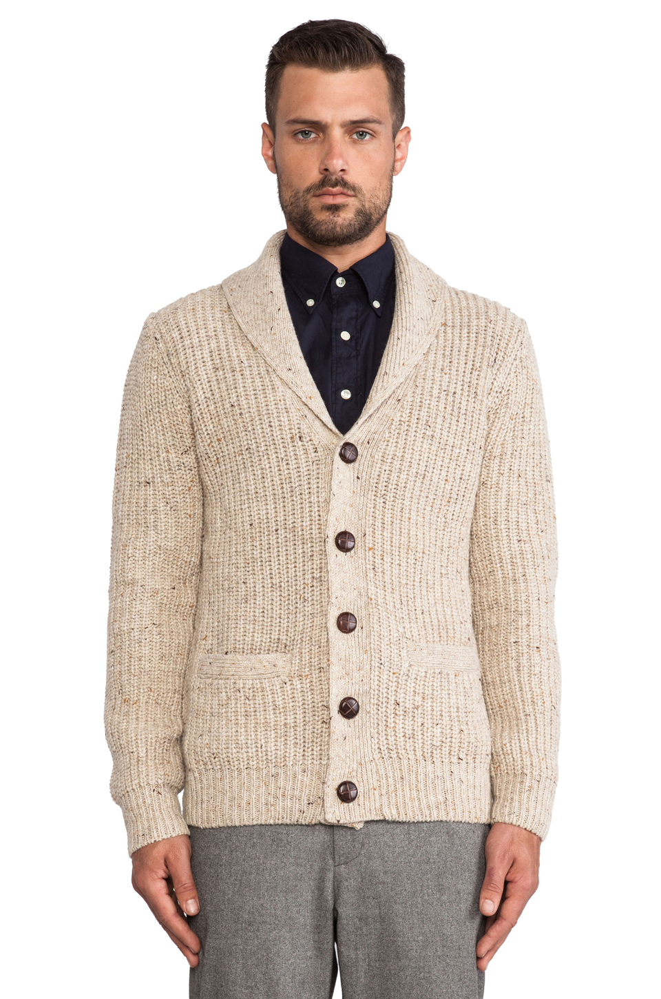 Lyst Gant Rib Shawl Cardigan In White For Men