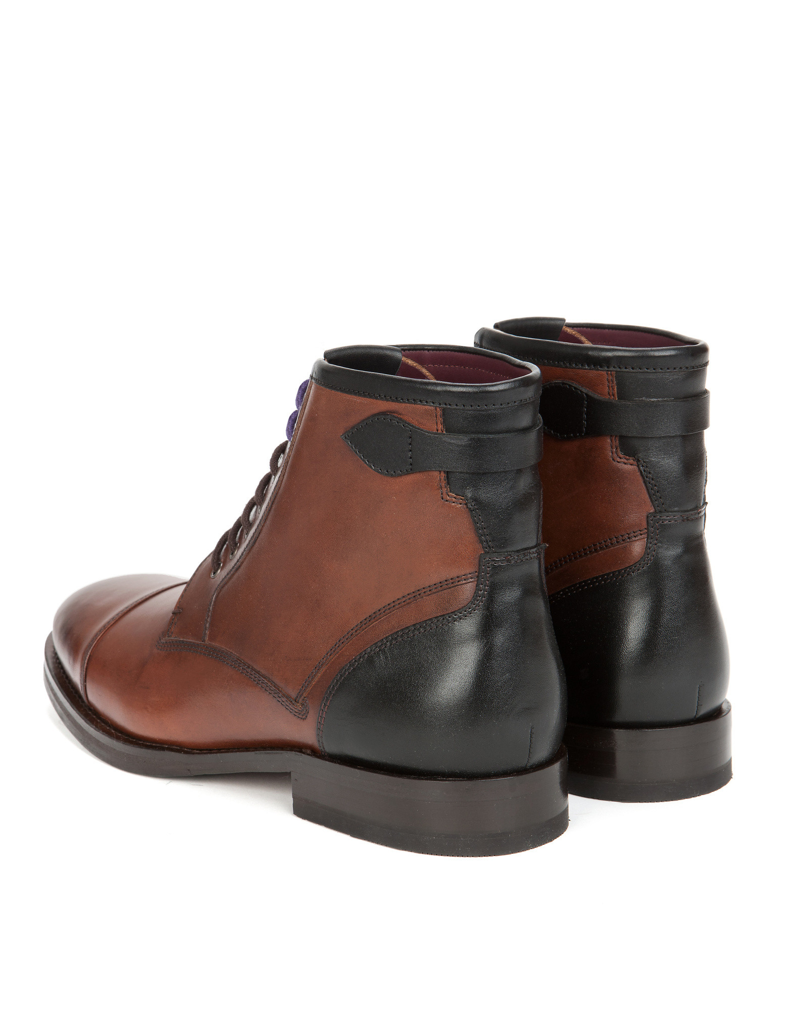 ted baker toe cap derby boots in brown for lyst