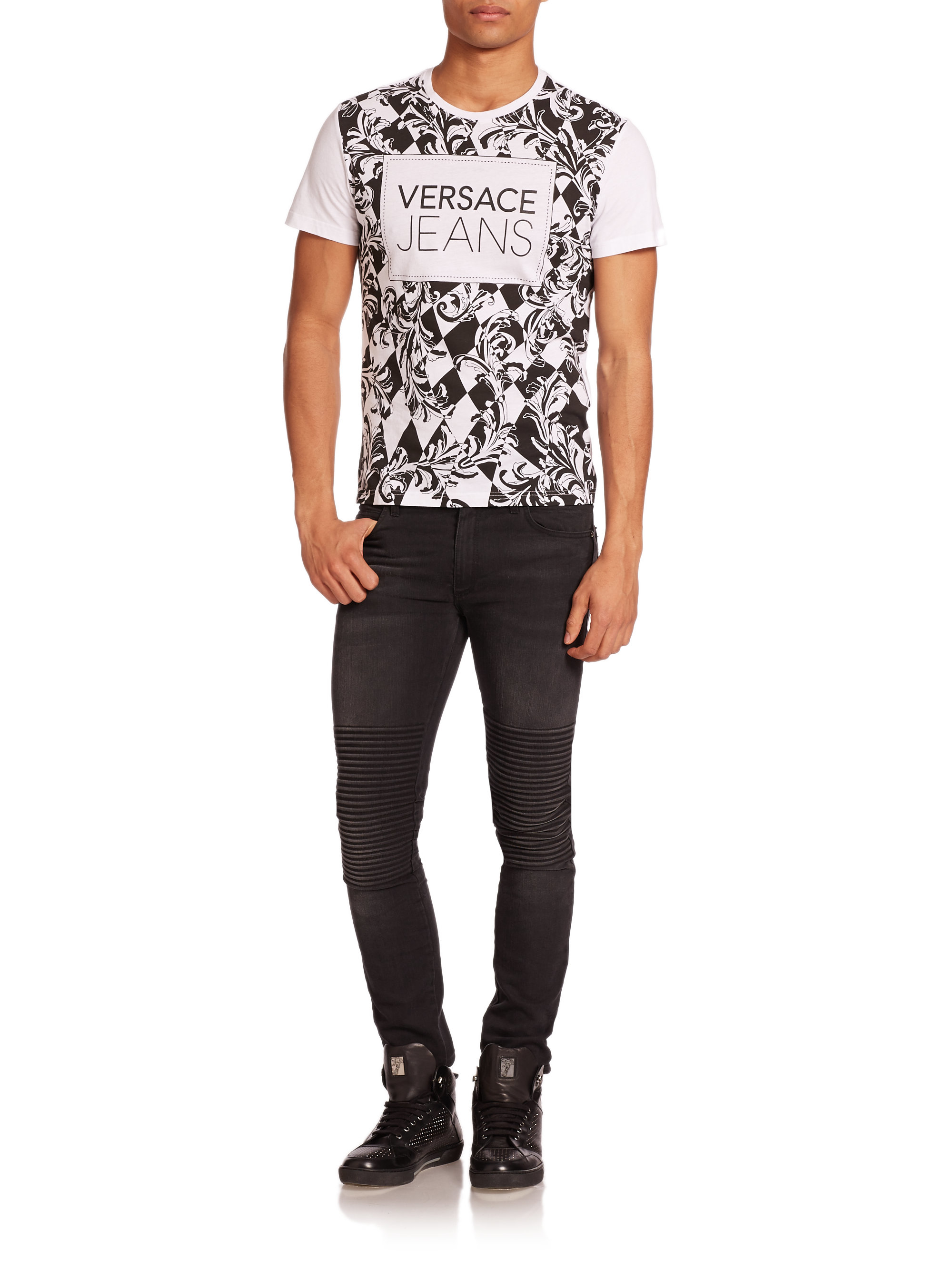 versace baroque print cotton in black for lyst