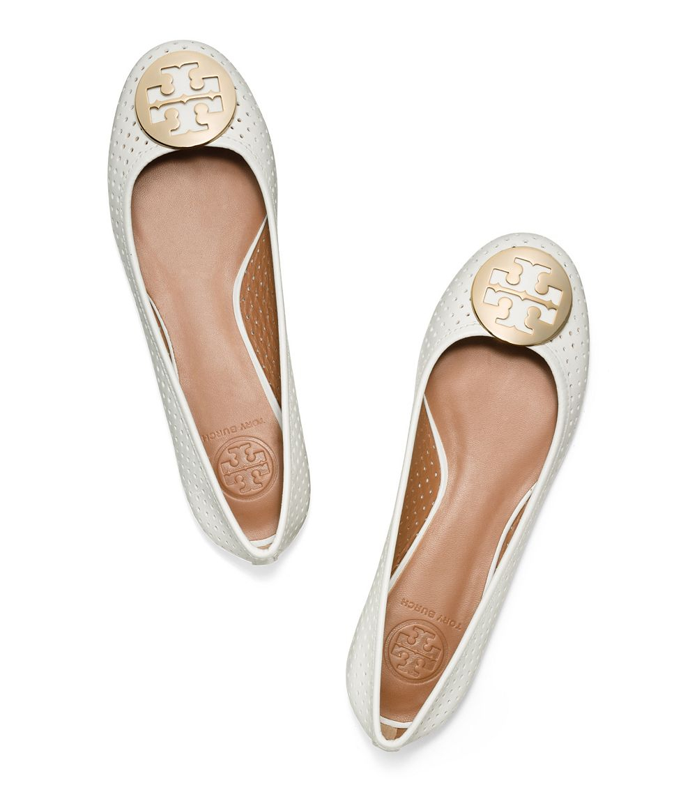 7a3f9b7dfb1 Lyst - Tory Burch Reva Perforated Leather Ballet Flats in White