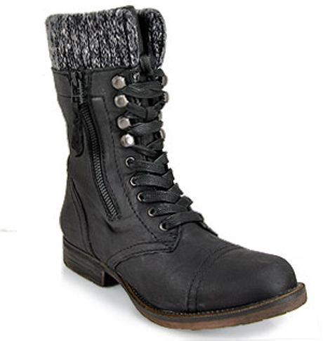 steve madden jaax black leather combat boot in black lyst