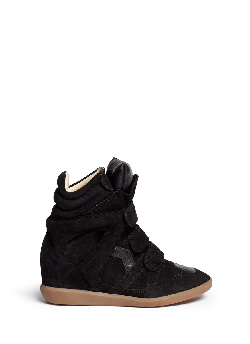 toile isabel marant 39 bekett 39 suede high top wedge sneakers in black. Black Bedroom Furniture Sets. Home Design Ideas