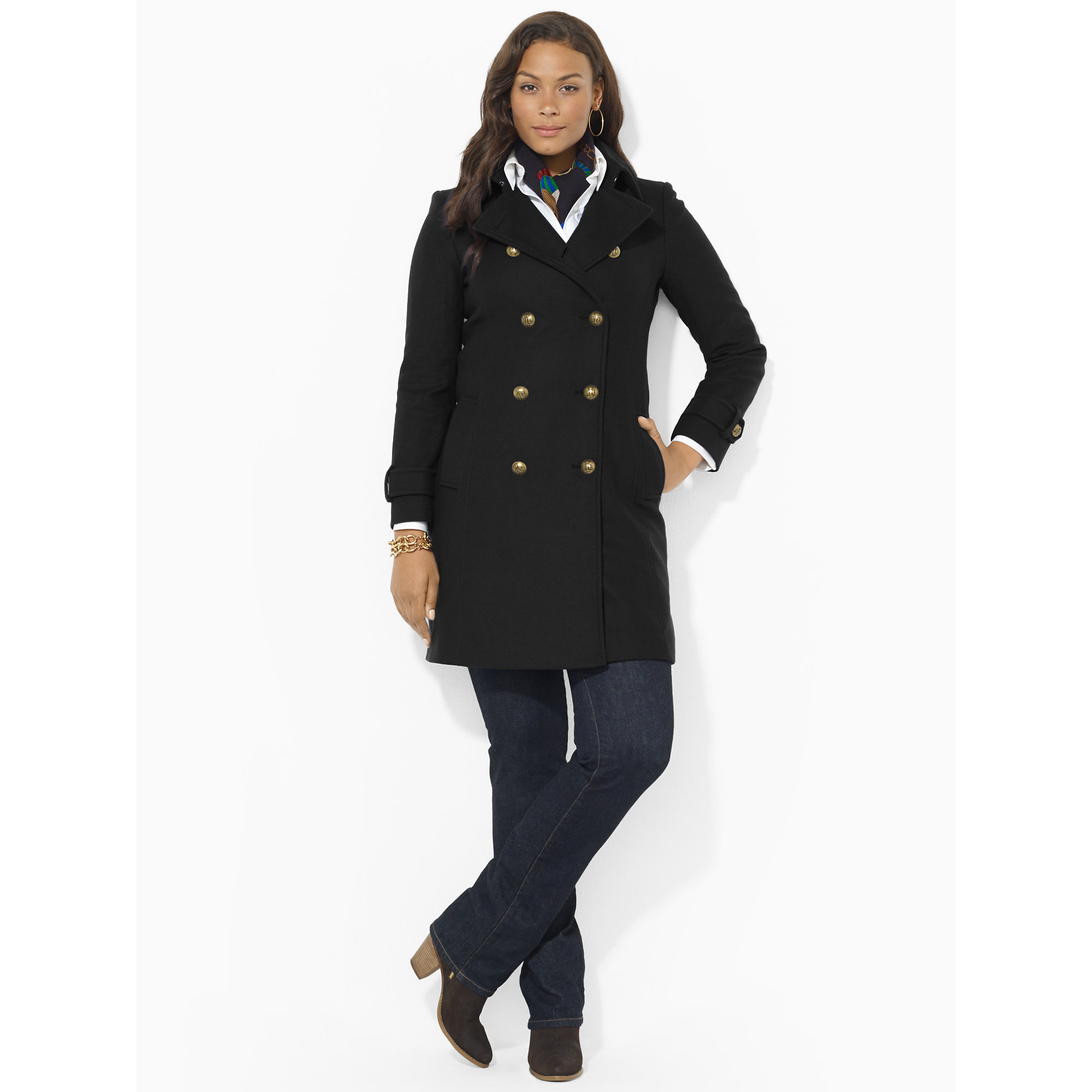 Lauren by ralph lauren Wool-Blend Military Pea Coat in Black | Lyst