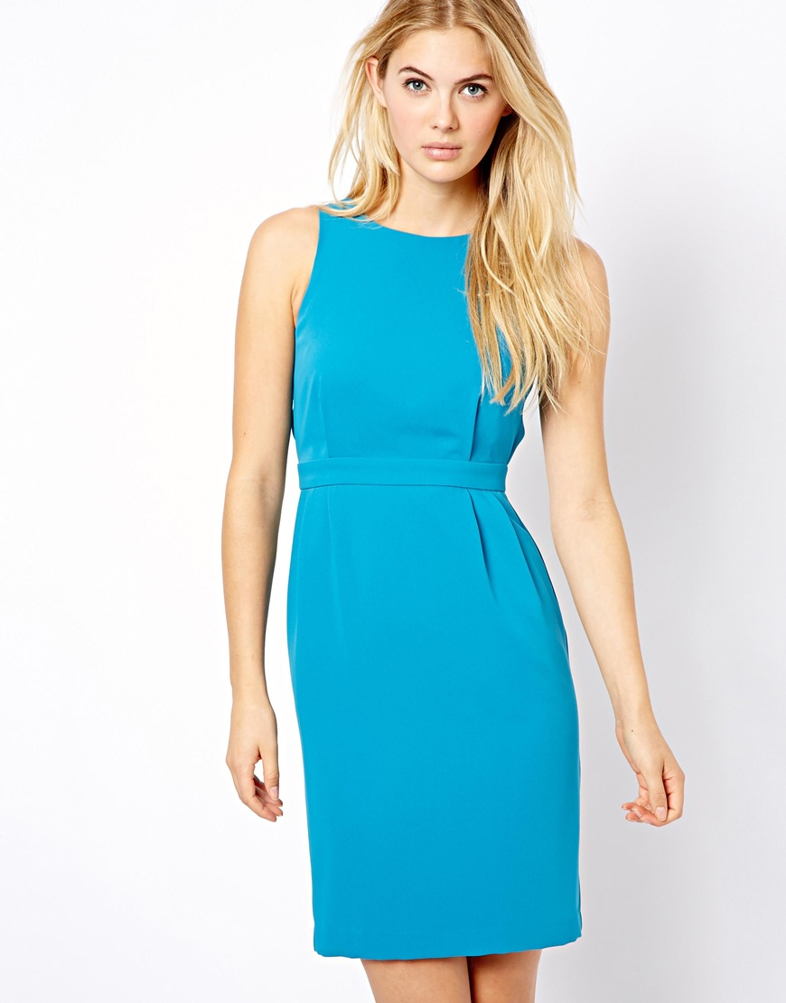 Lyst - Warehouse Strappy Back Detail Dress - Teal in Green