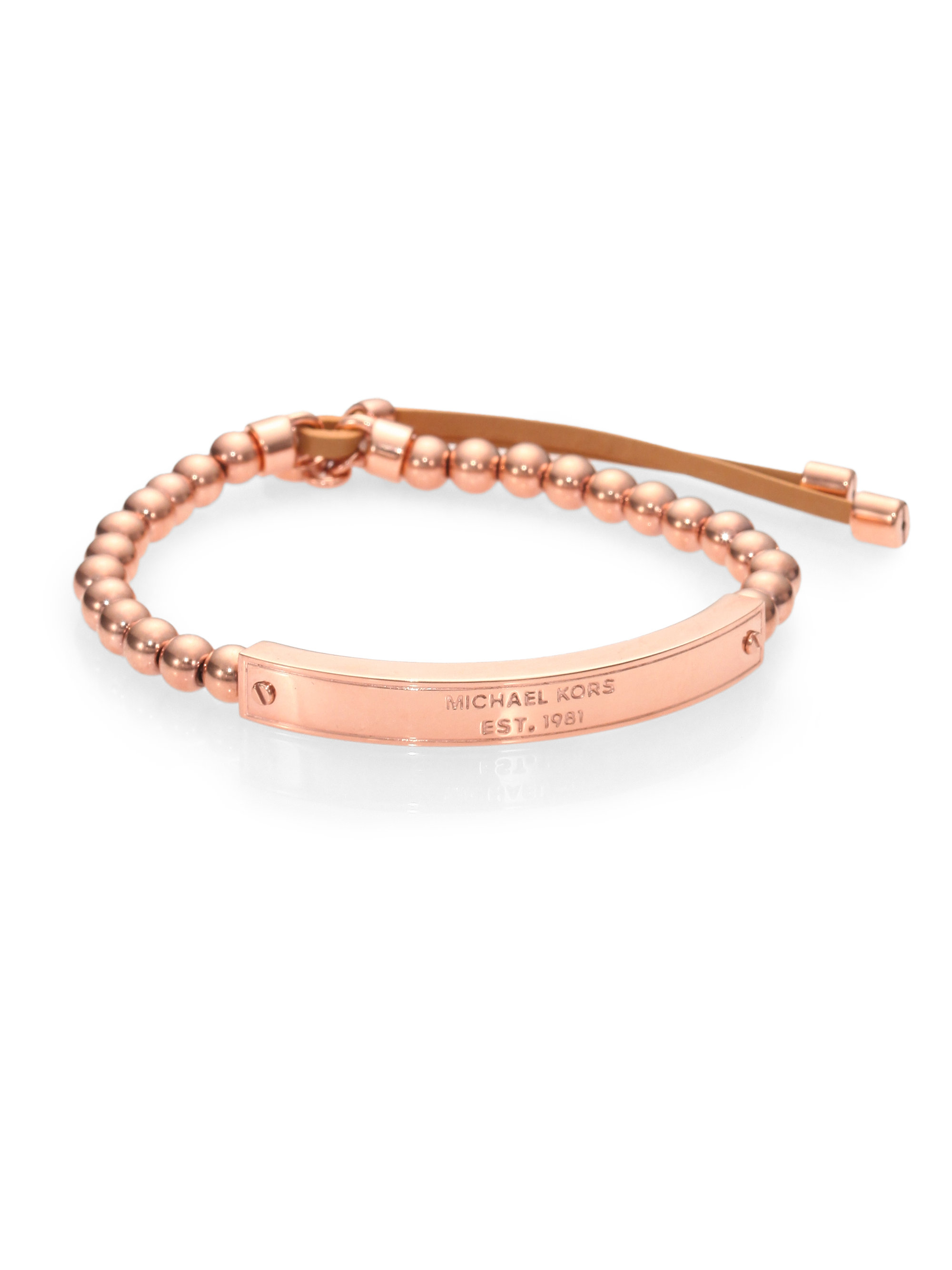 michael kors beaded leather plaque stretch bracelet in gold rose gold lyst. Black Bedroom Furniture Sets. Home Design Ideas