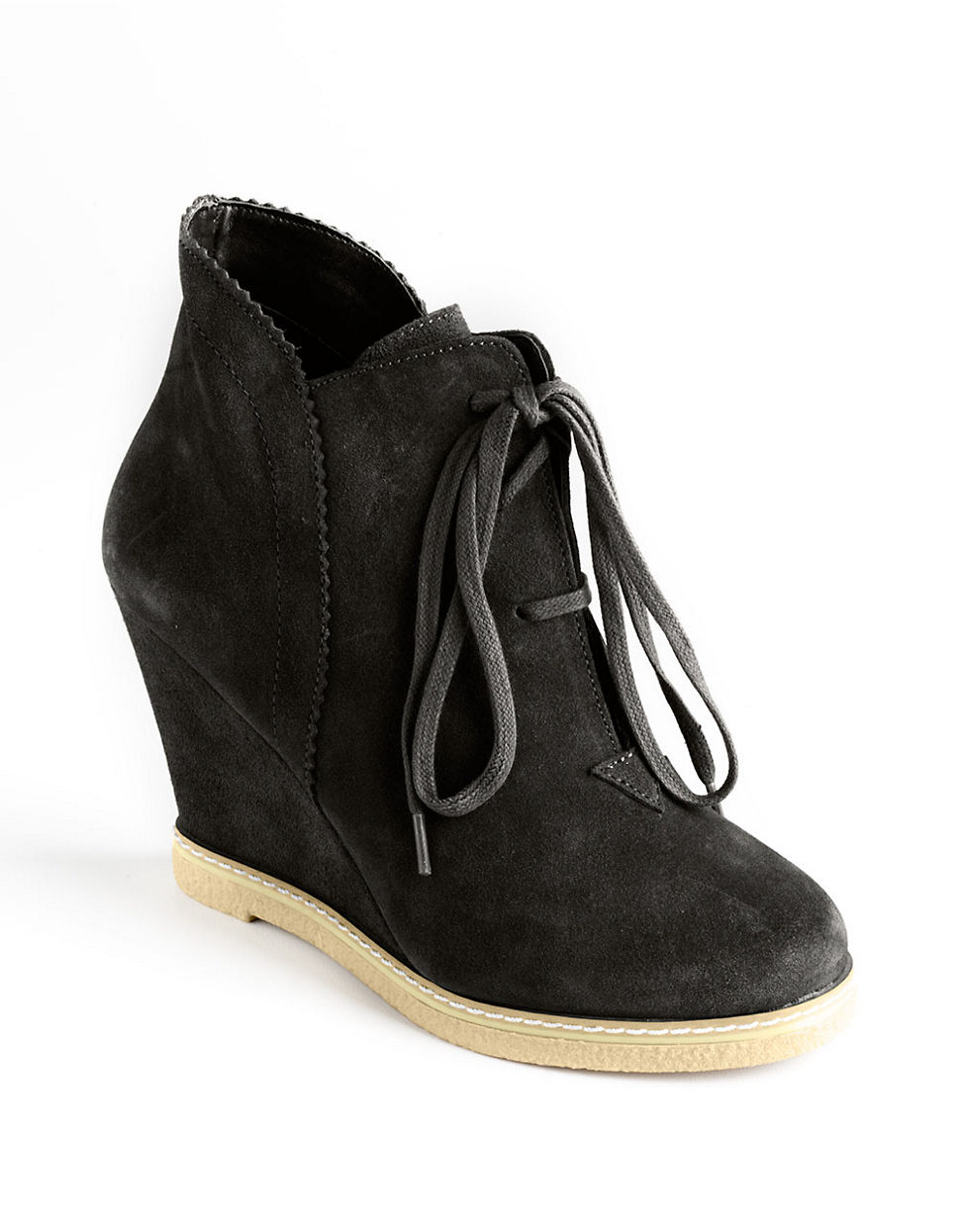 kelsi dagger helix laceup wedge boots in black black