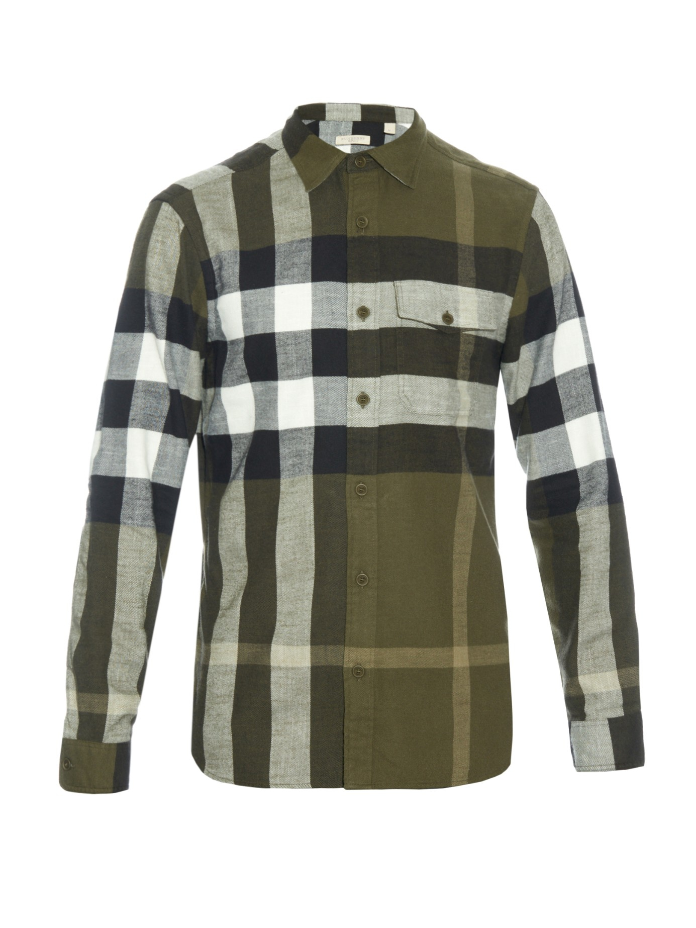 Burberry brit jamie checked flannel shirt in green for men for Burberry brit green plaid shirt