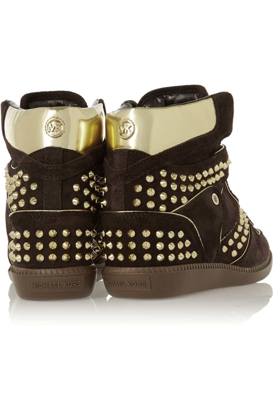 MICHAEL Michael Kors Nikko Studded Suede High-top Sneakers in Dark Brown (Brown)
