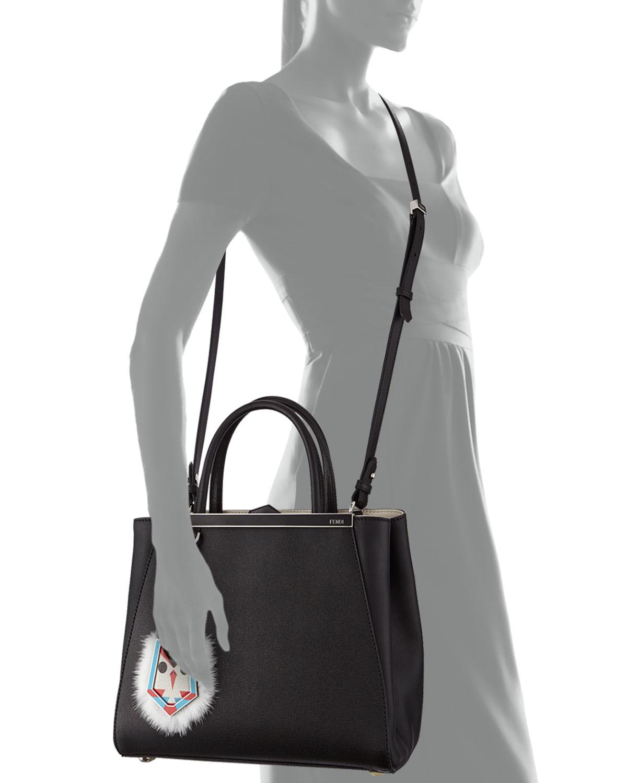 a4148974edb Lyst - Fendi 2Jours Petit Monster-Charm Shopping Tote Bag in Black