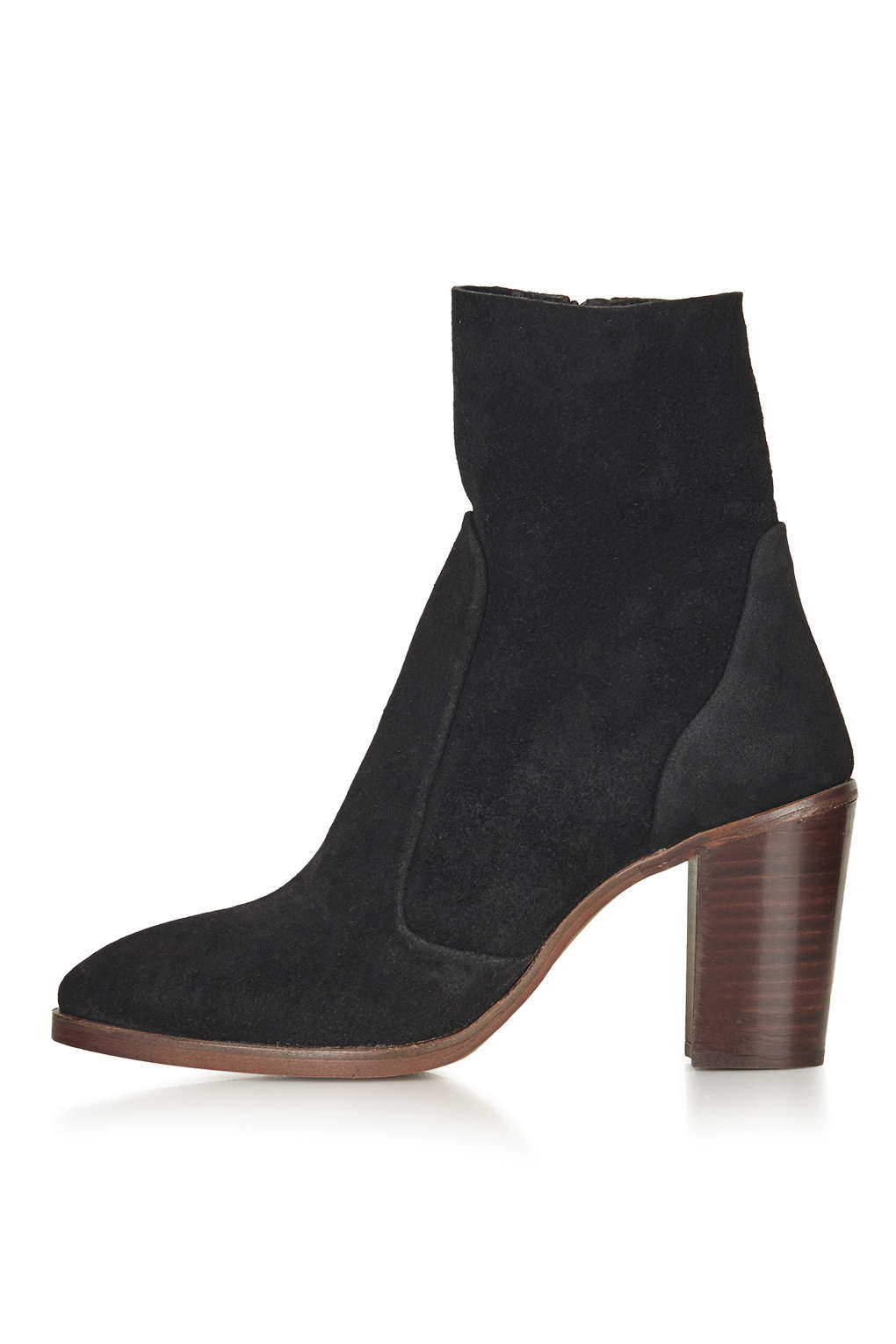 TOPSHOP Magnificent Suede Sock Boots in Black