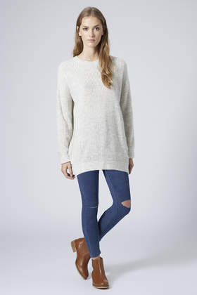 TOPSHOP Tall Ribbed Grunge Sweater in Grey (Grey)