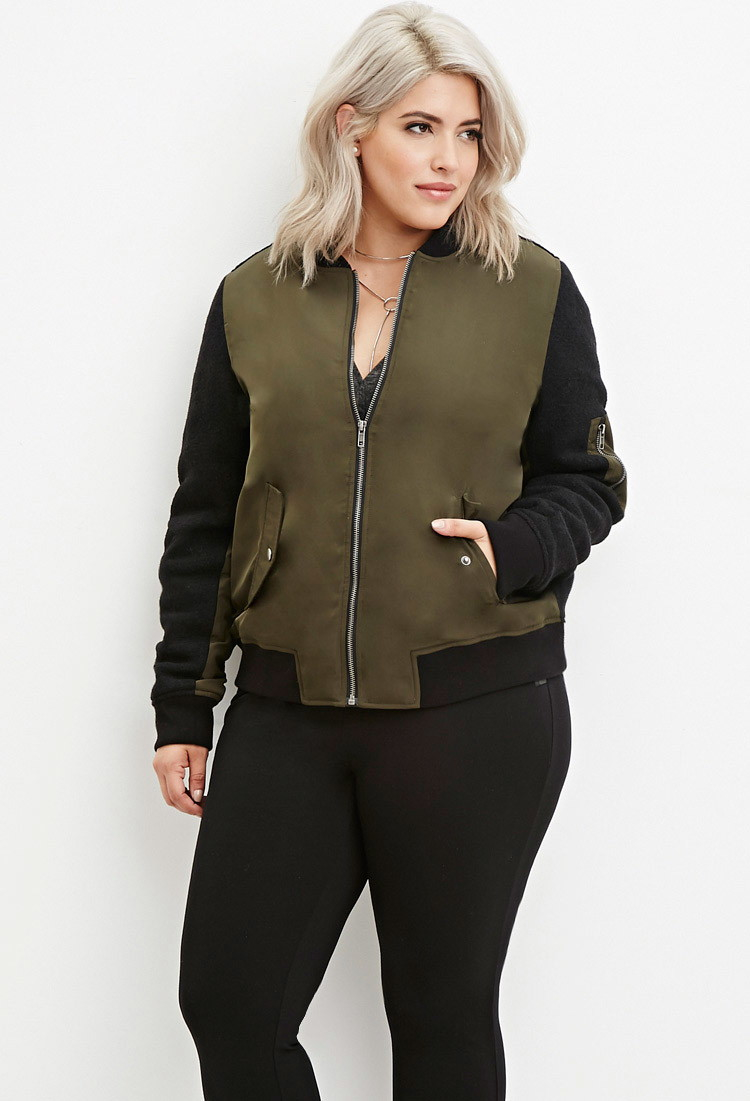 Forever 21 Plus Size Love Graphic Bomber Jacket in Green | Lyst