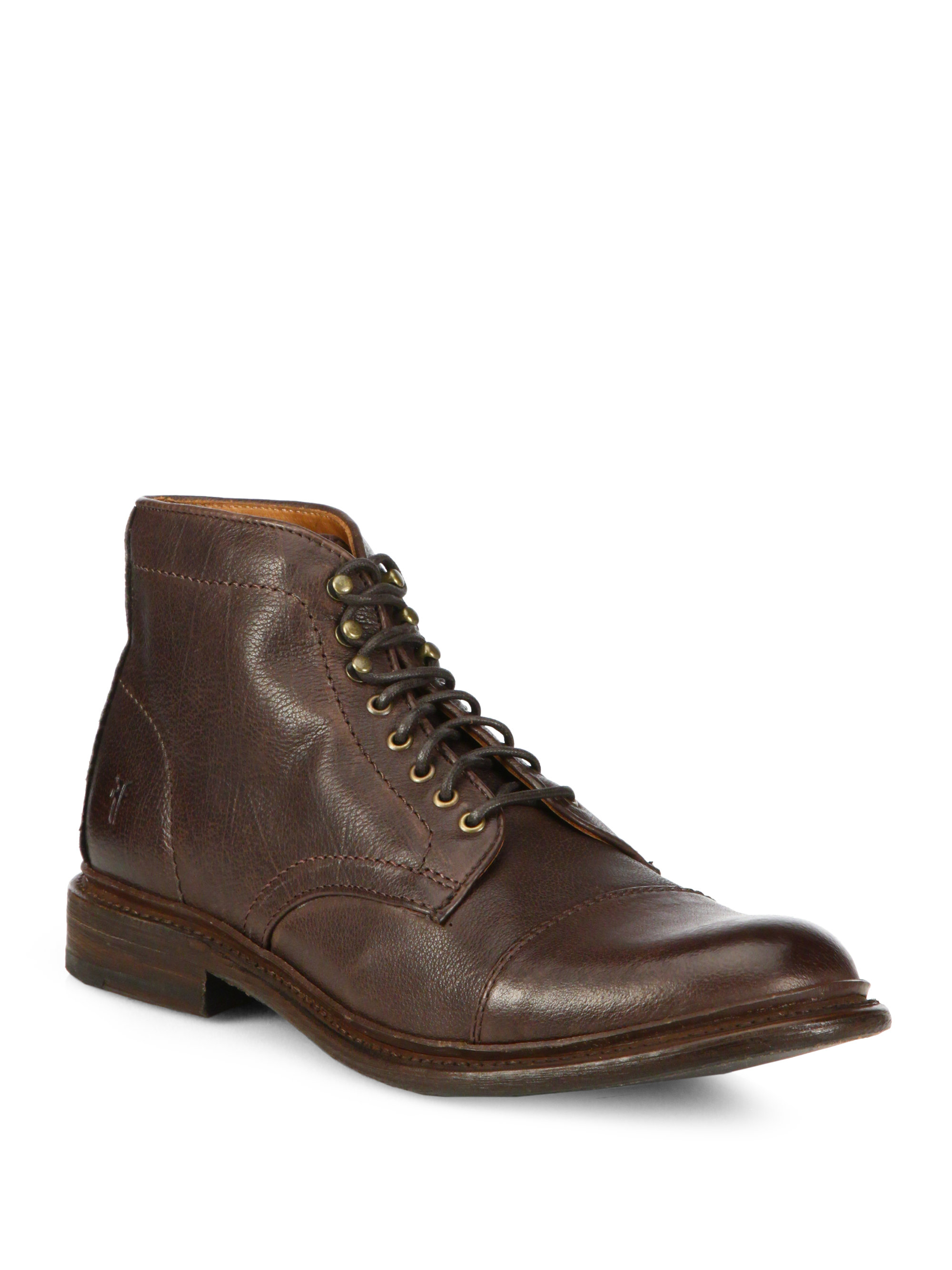 frye leather lace up boots in brown for lyst