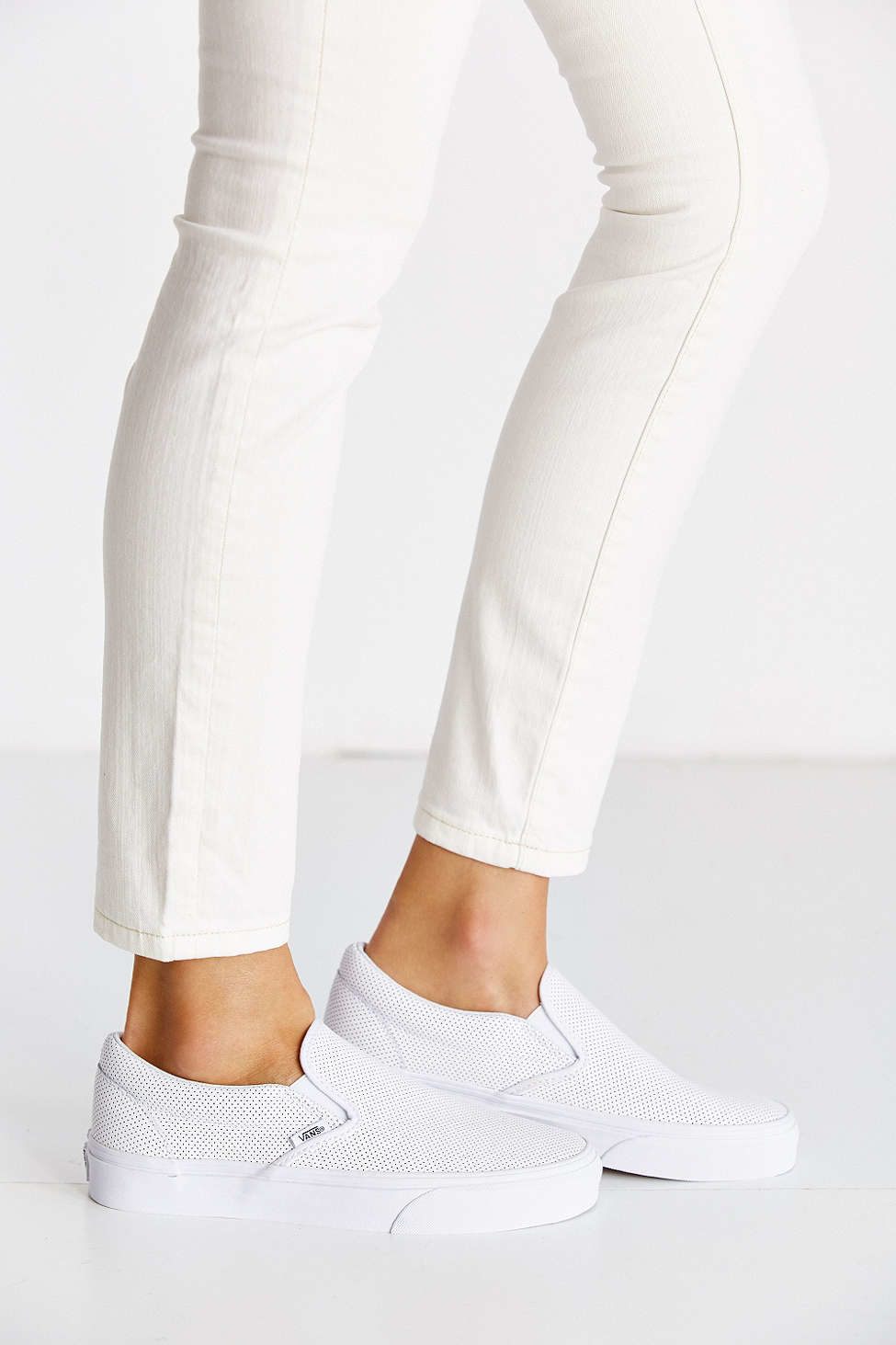 faf9af9fa4 Lyst - Vans Perforated Leather Slip-on Sneaker in White