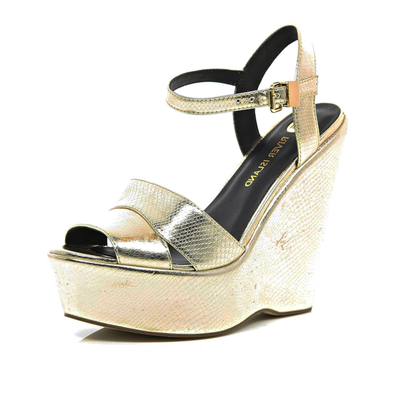 River Island Gold Snake Wedge Sandals In Gold Lyst