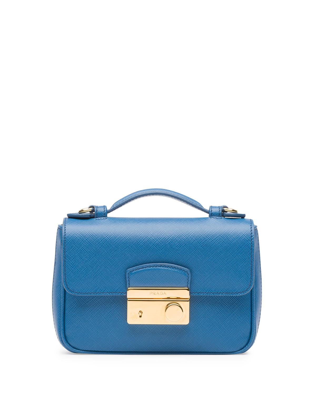 Prada Saffiano Mini Sound Crossbody Bag in Blue (Blue (Cobalto ...