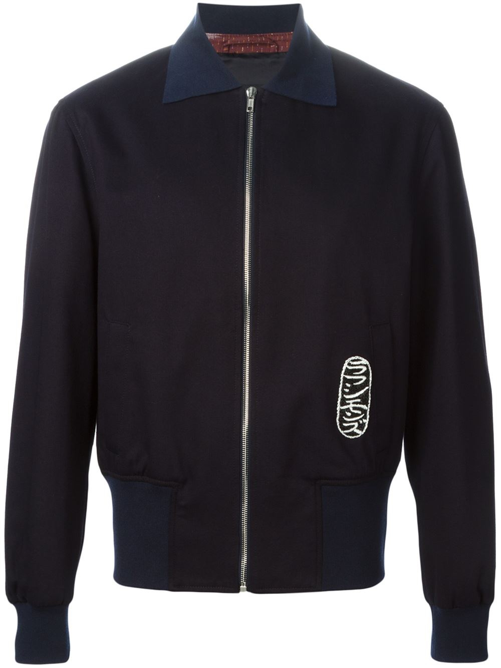 raf simons contrasting collar bomber jacket in blue for men lyst. Black Bedroom Furniture Sets. Home Design Ideas