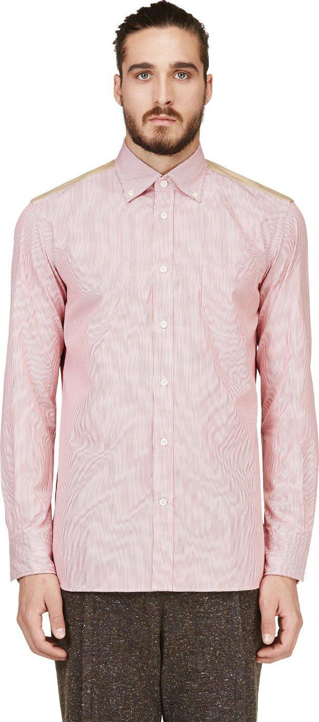 junya watanabe red pinstripe and plaid button down shirt