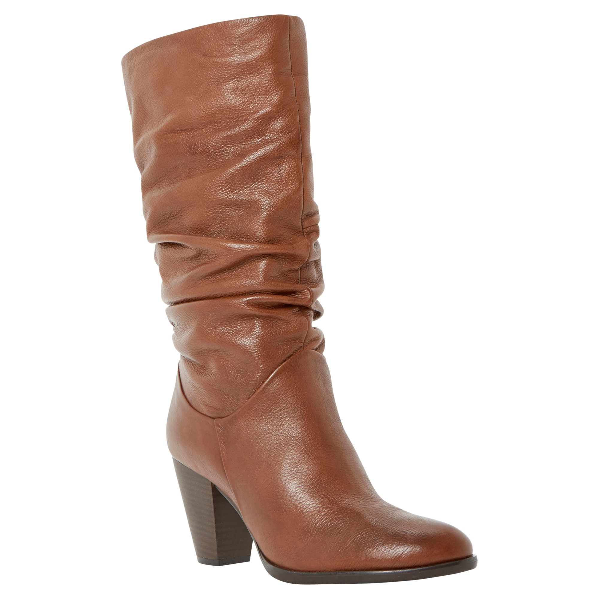 Dune Raddle Leather High Heel Calf Boots in Brown