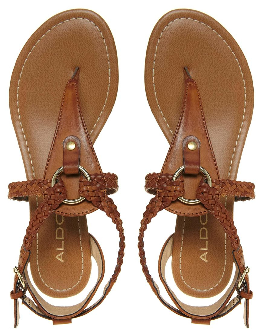 Aldo Lawrance Cognac Flat Sandal In Brown Lyst