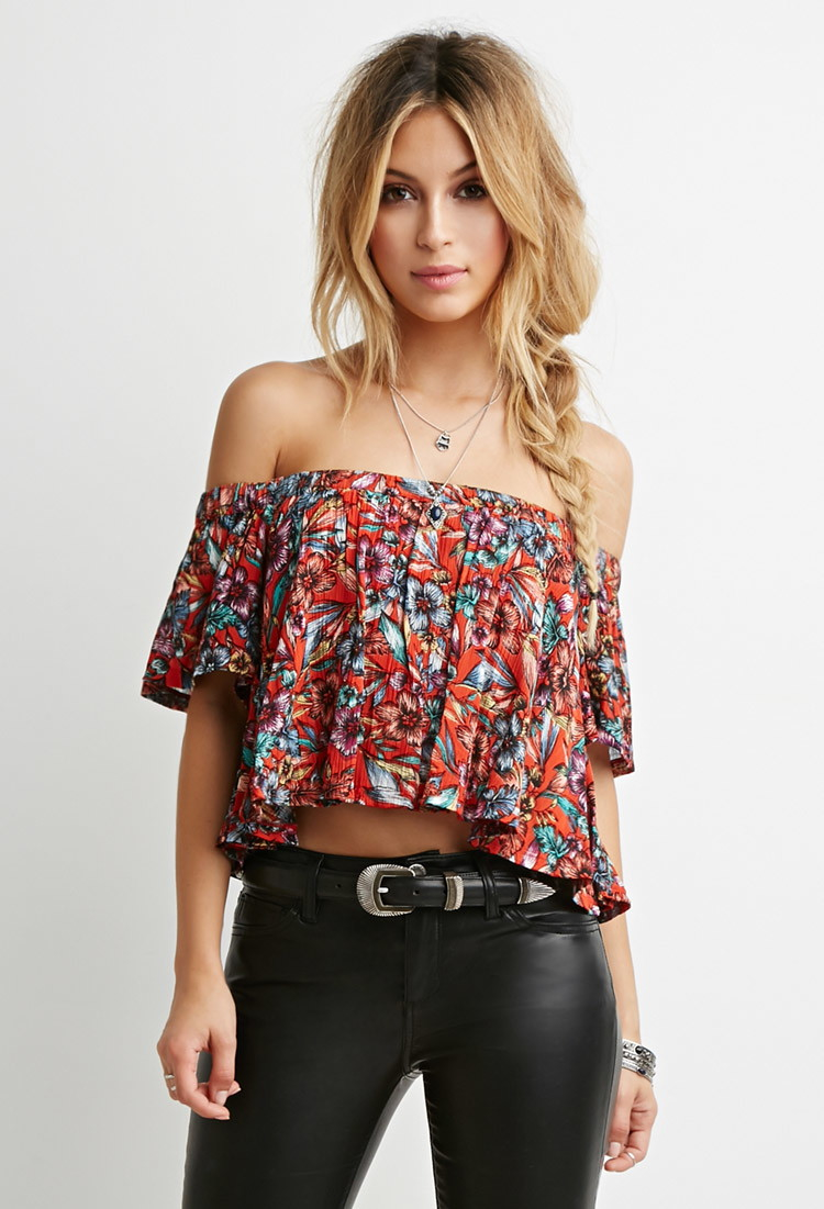 be927430070 Forever 21 Floral Off-the-shoulder Top in Red - Lyst