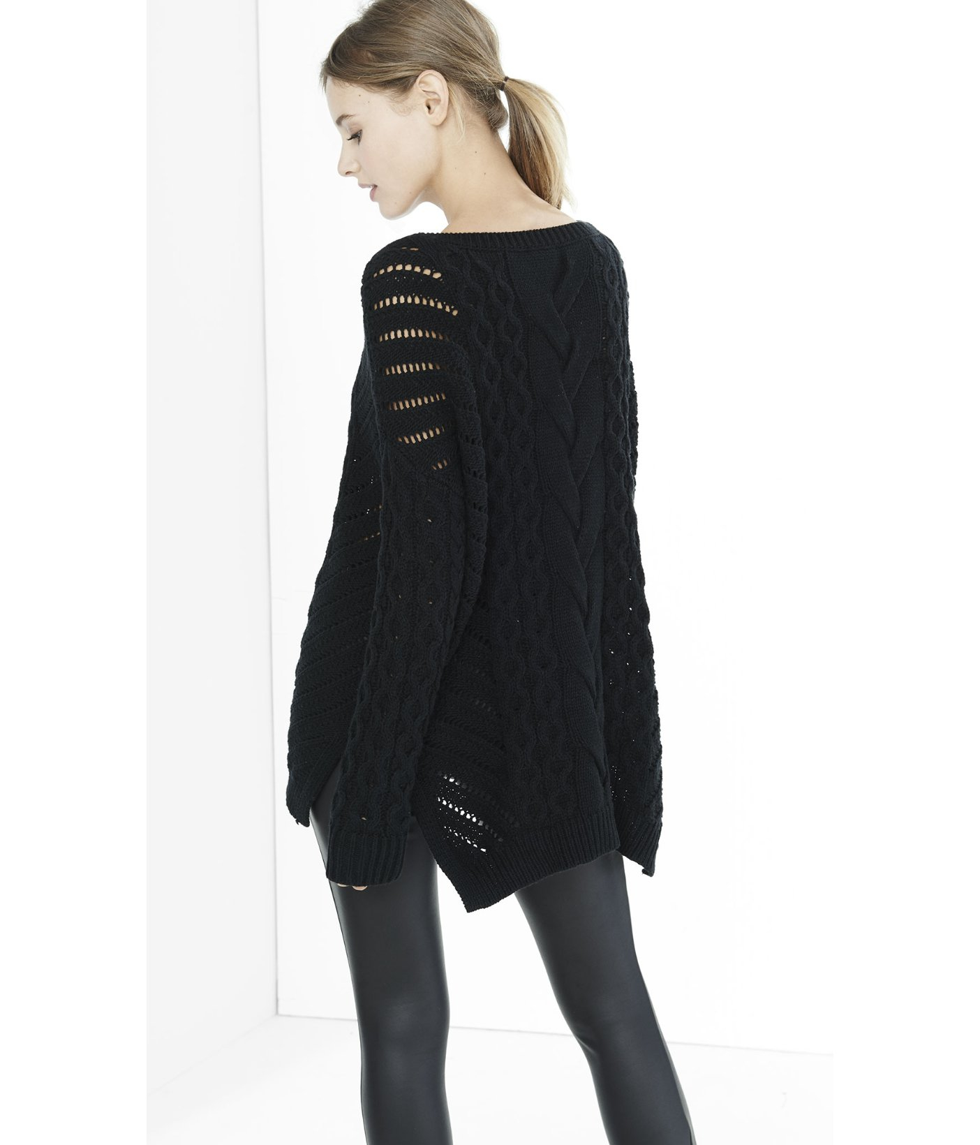 Express Oversized Open Cable Knit Tunic Sweater in Black | Lyst