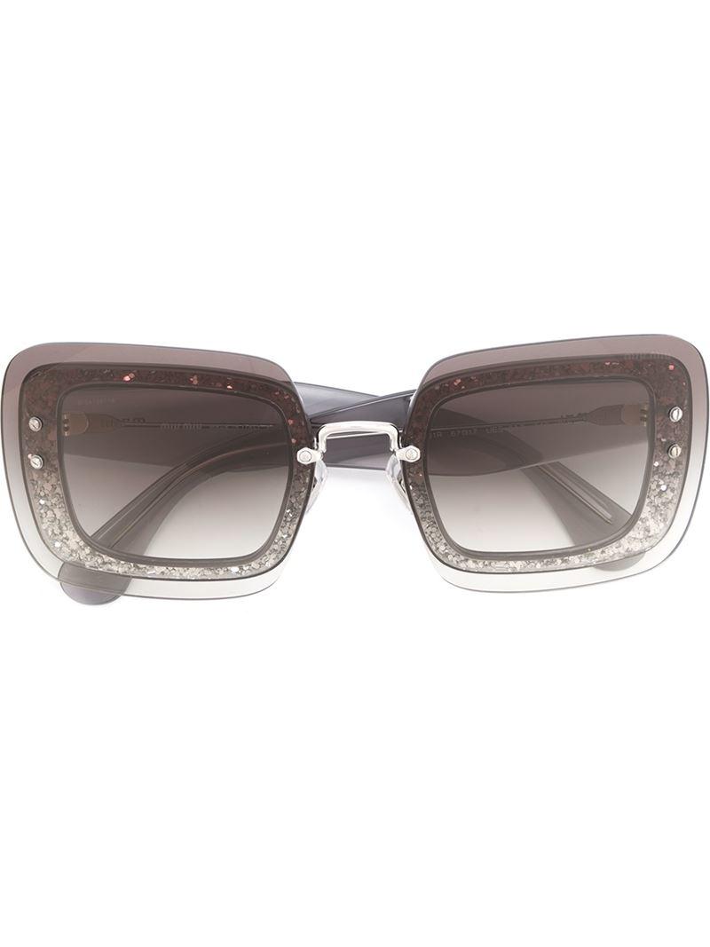 1a79981aee Miu miu Glitter Square Frame Sunglasses in Gray