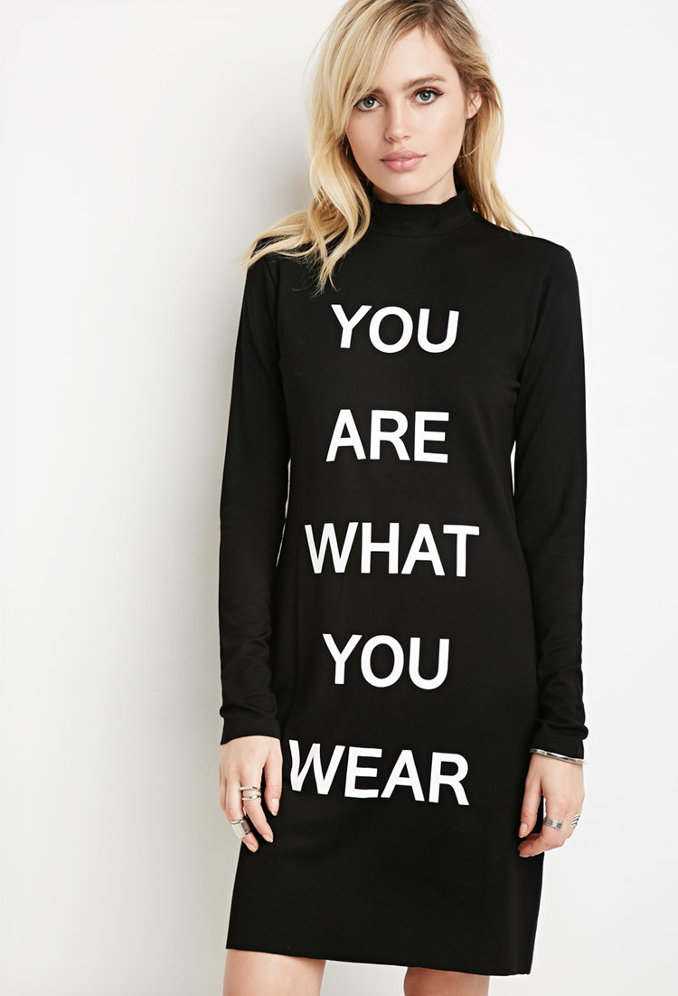 Forever 21 You Are What You Wear Dress in Black