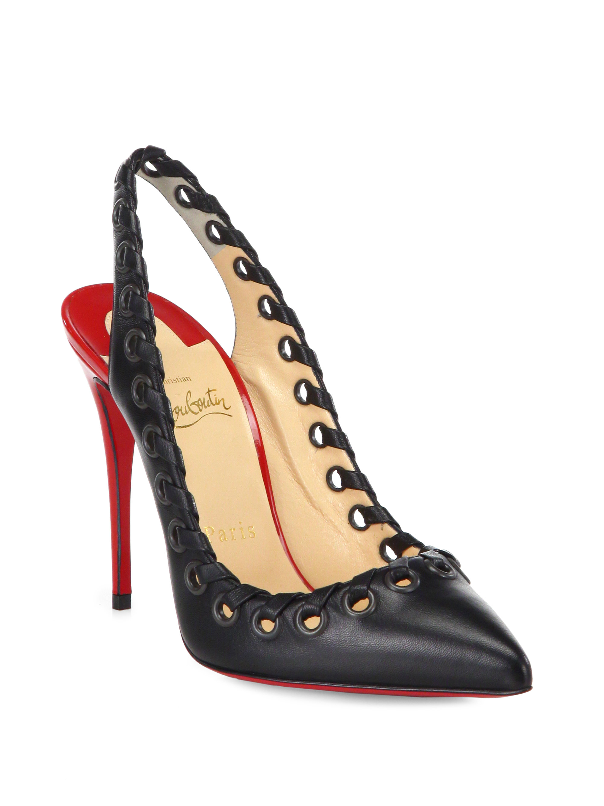 Christian Louboutin Red Ostri Whipstitch Leather Slingback Pumps