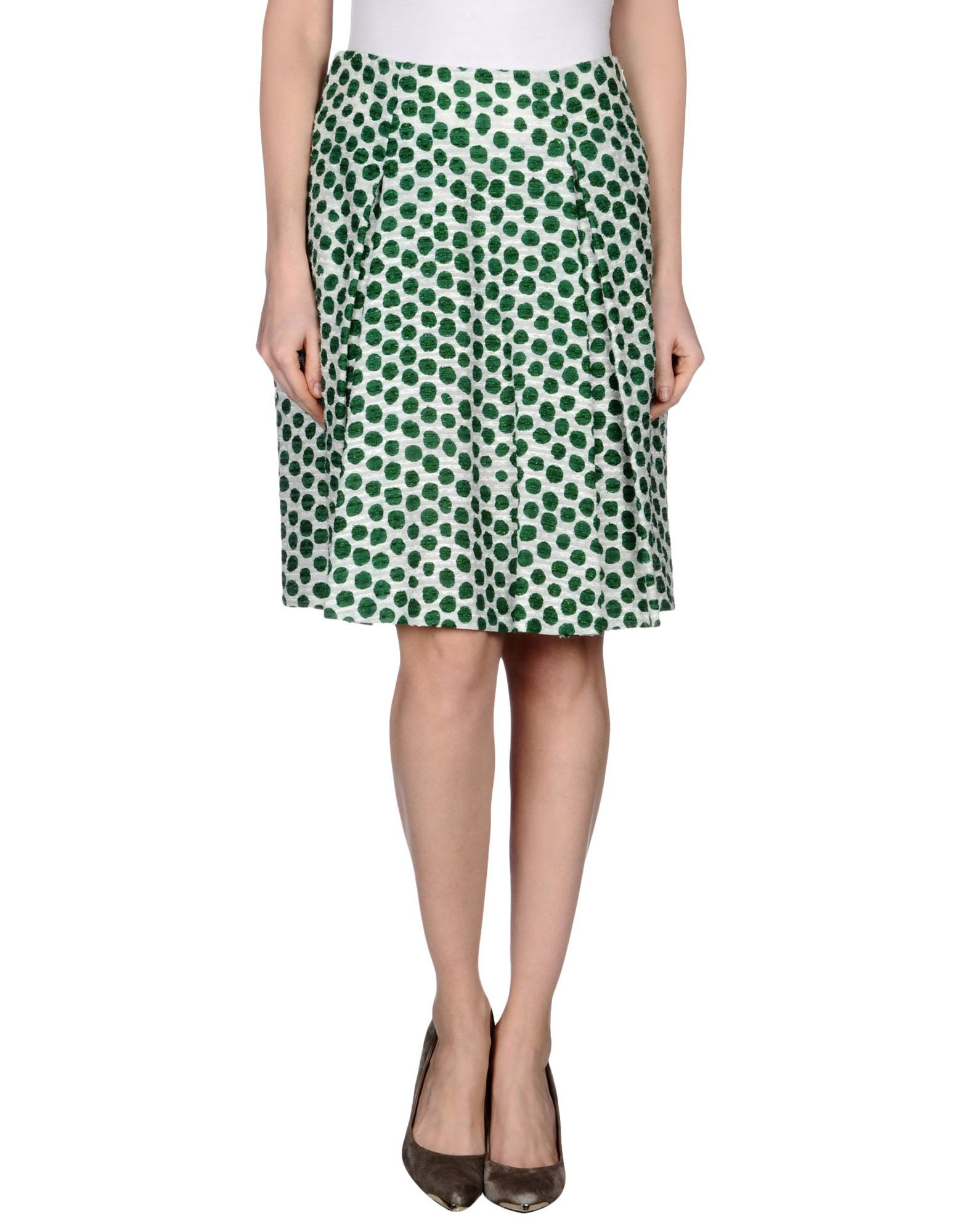 moschino knee length skirt in green save 52 lyst