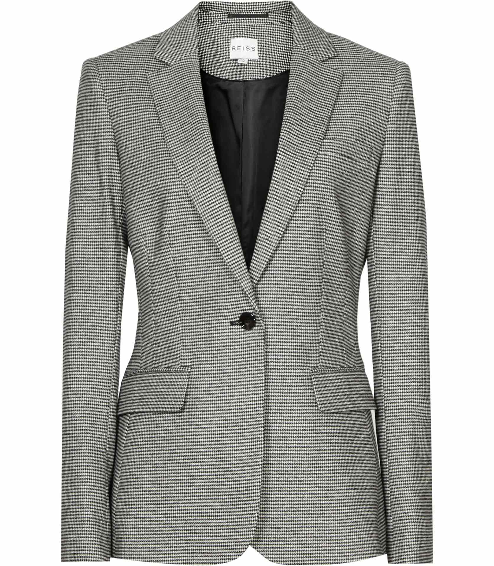Love this houndstooth jacket! It is so pretty and fits true to size. I especially love the belt to create a nice fitted look. This is a classic and I get lots of compliments when I wear it.