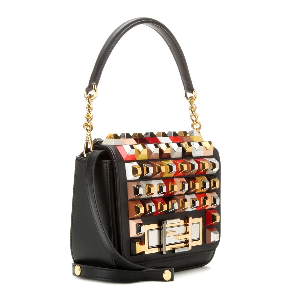 596d88f290 Lyst - Fendi 3baguette Embellished-Leather Shoulder Bag in Black