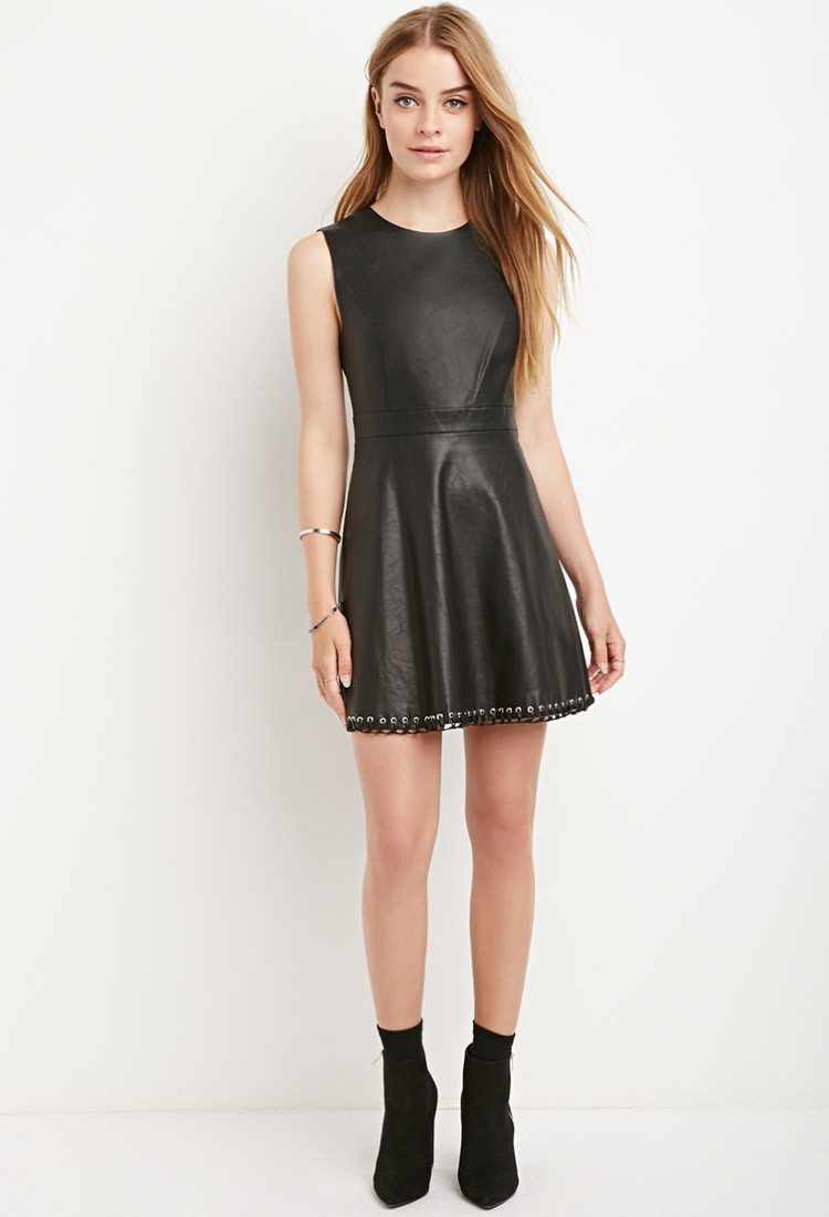 Forever 21 faux leather sheath dress in black lyst for Leather wedding dresses black