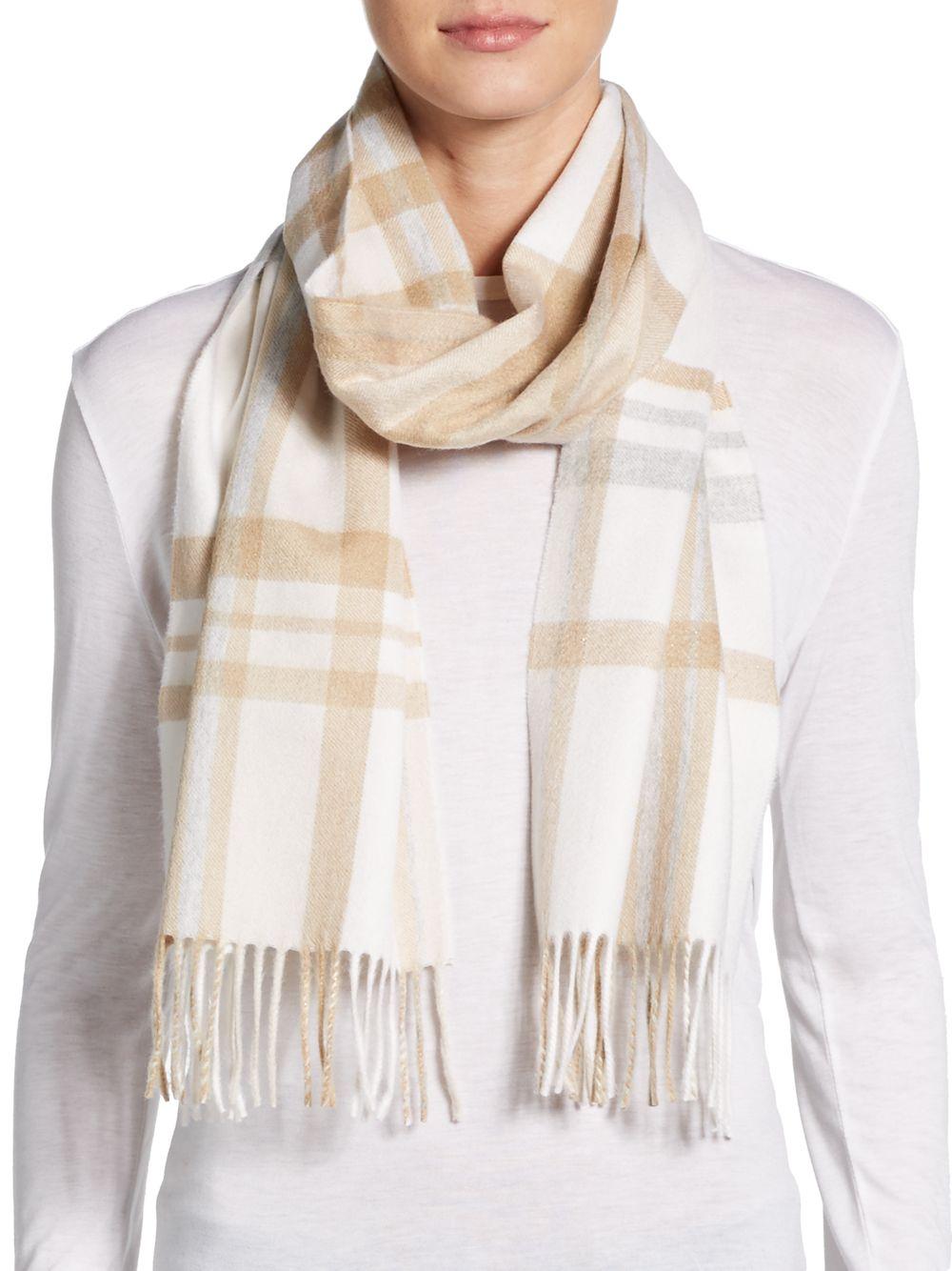 saks fifth avenue black plaid scarf in beige