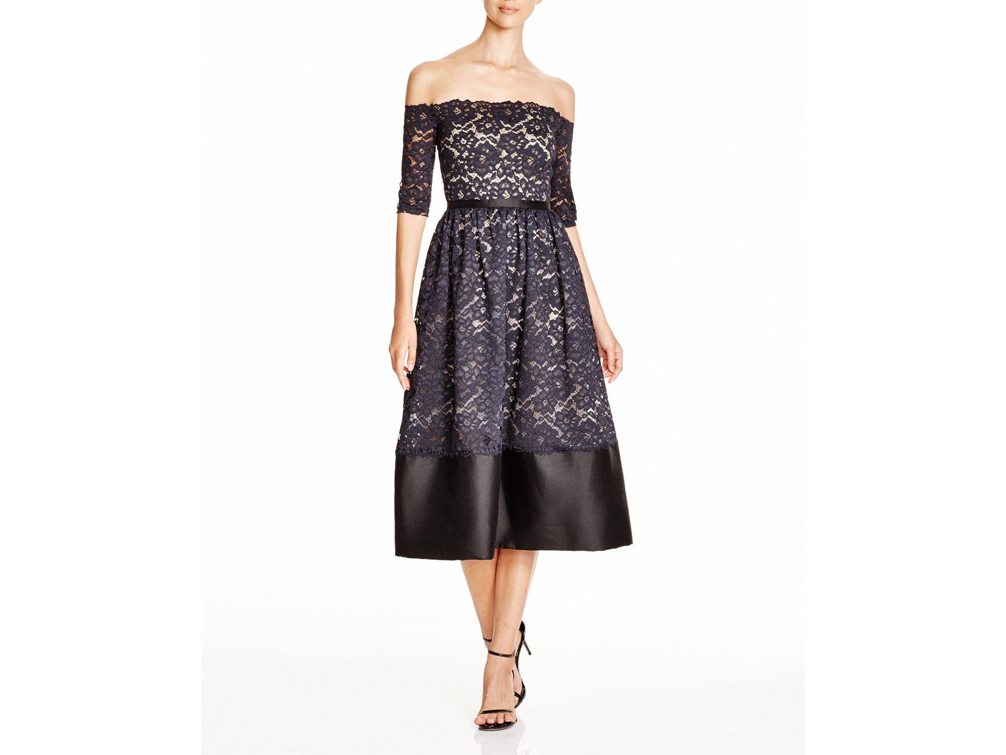 470686e5 ML Monique Lhuillier Ml Monique Lhuiller Off-the-shoulder Lace Dress ...