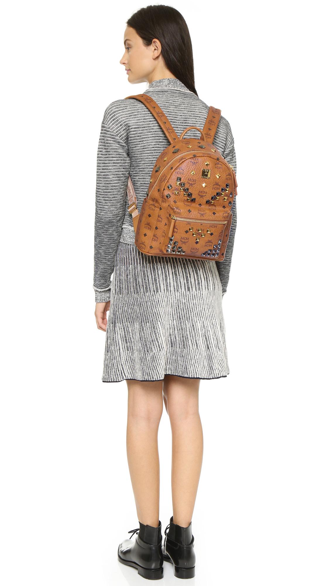 6e62900a2ca MCM Stark X-mini Side Stud Backpack in Brown - Lyst