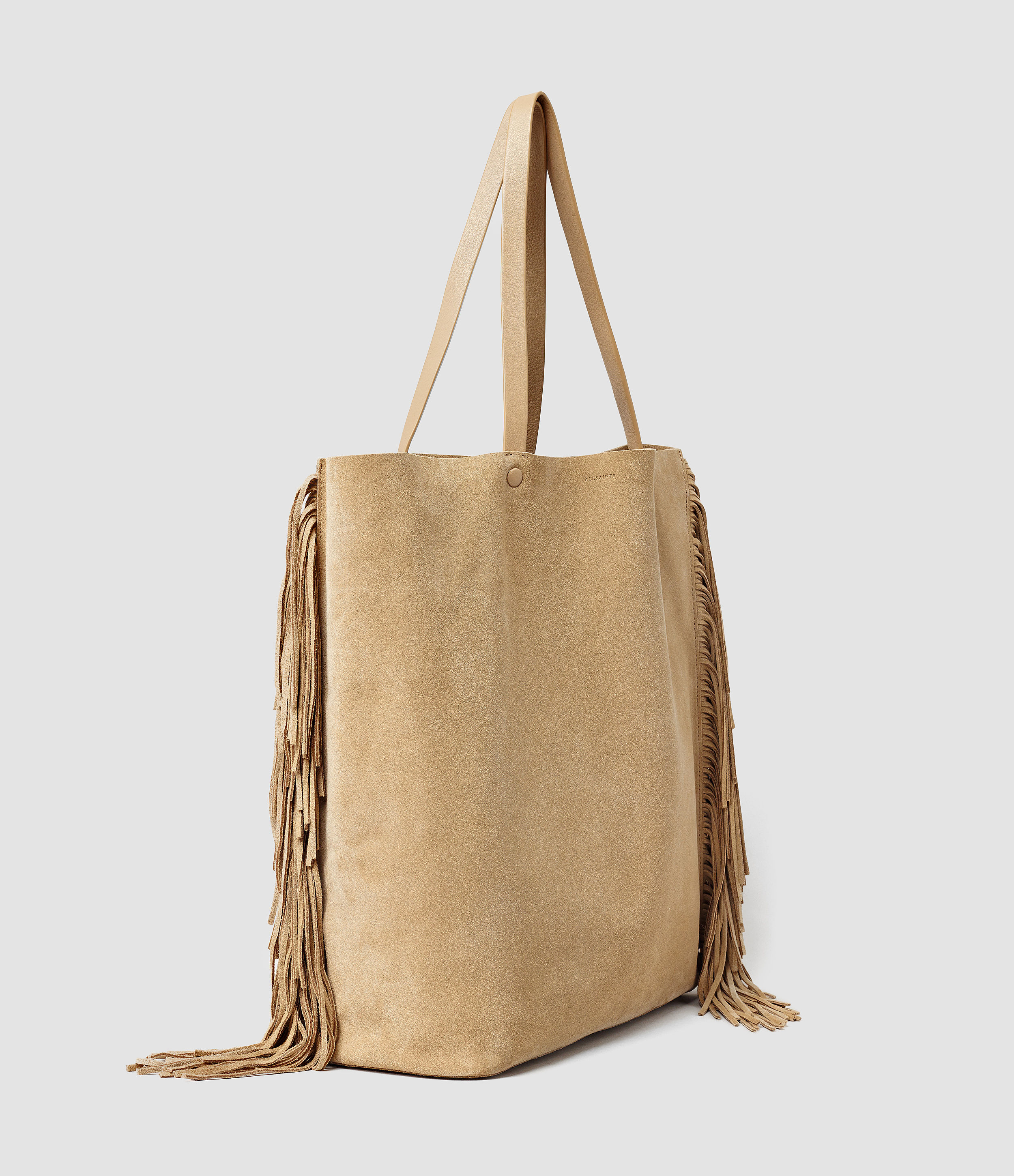AllSaints Suede Club New Lea Fringe Tote in Sand (Natural)