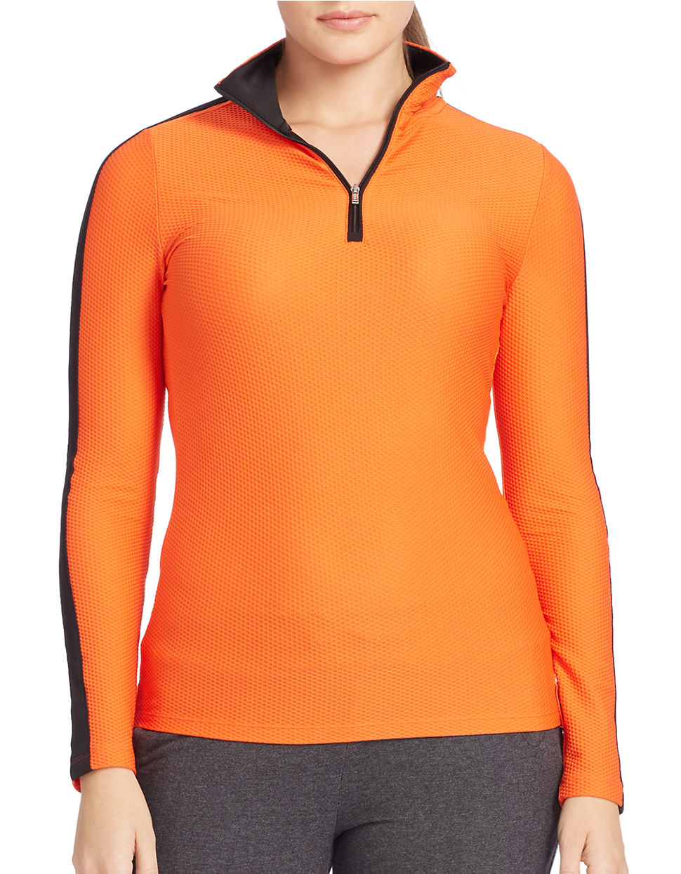 lauren by ralph lauren plus stretch mesh pullover in orange lyst. Black Bedroom Furniture Sets. Home Design Ideas