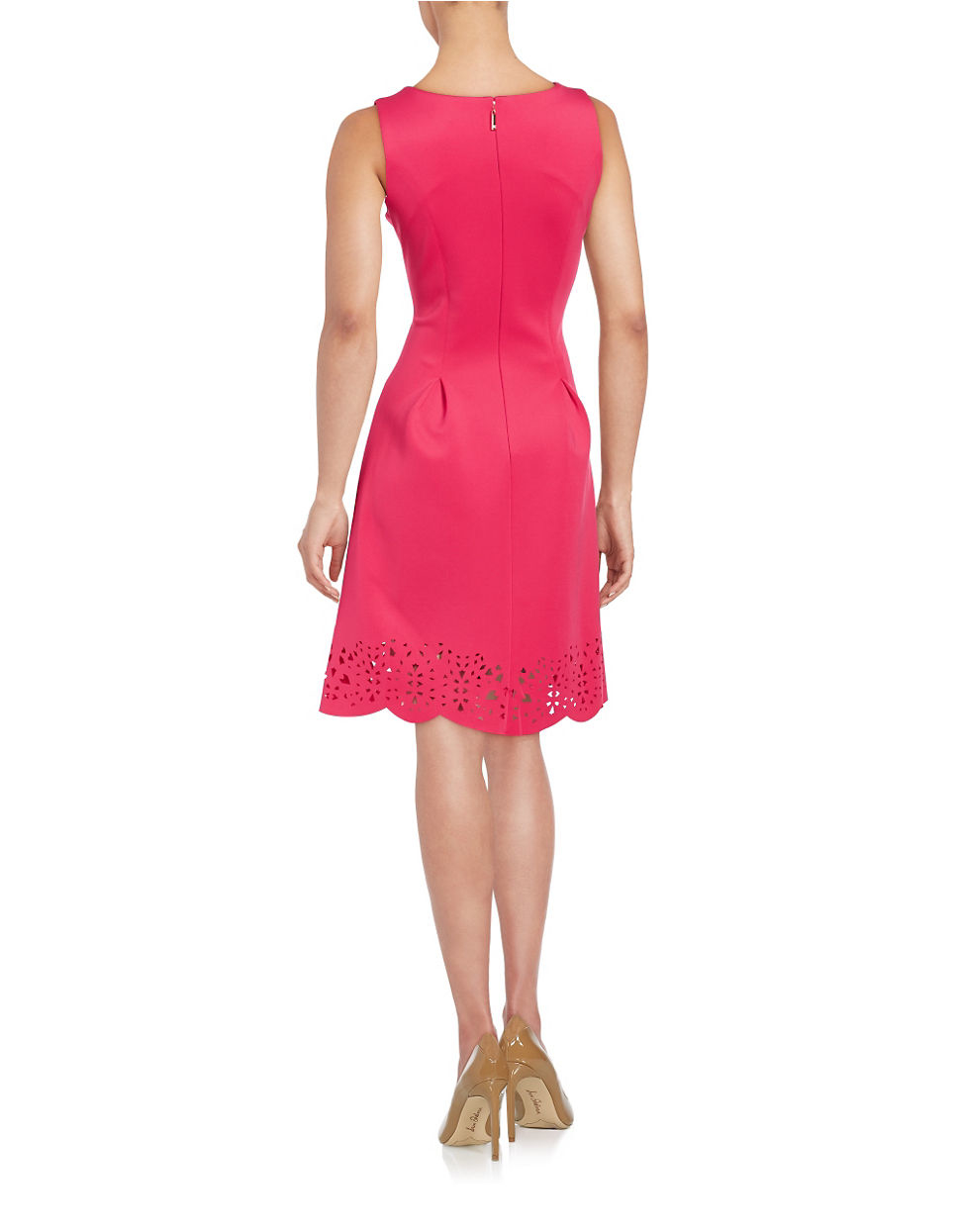 Ivanka trump Laser Cut Fit-and-flare Dress in Red | Lyst