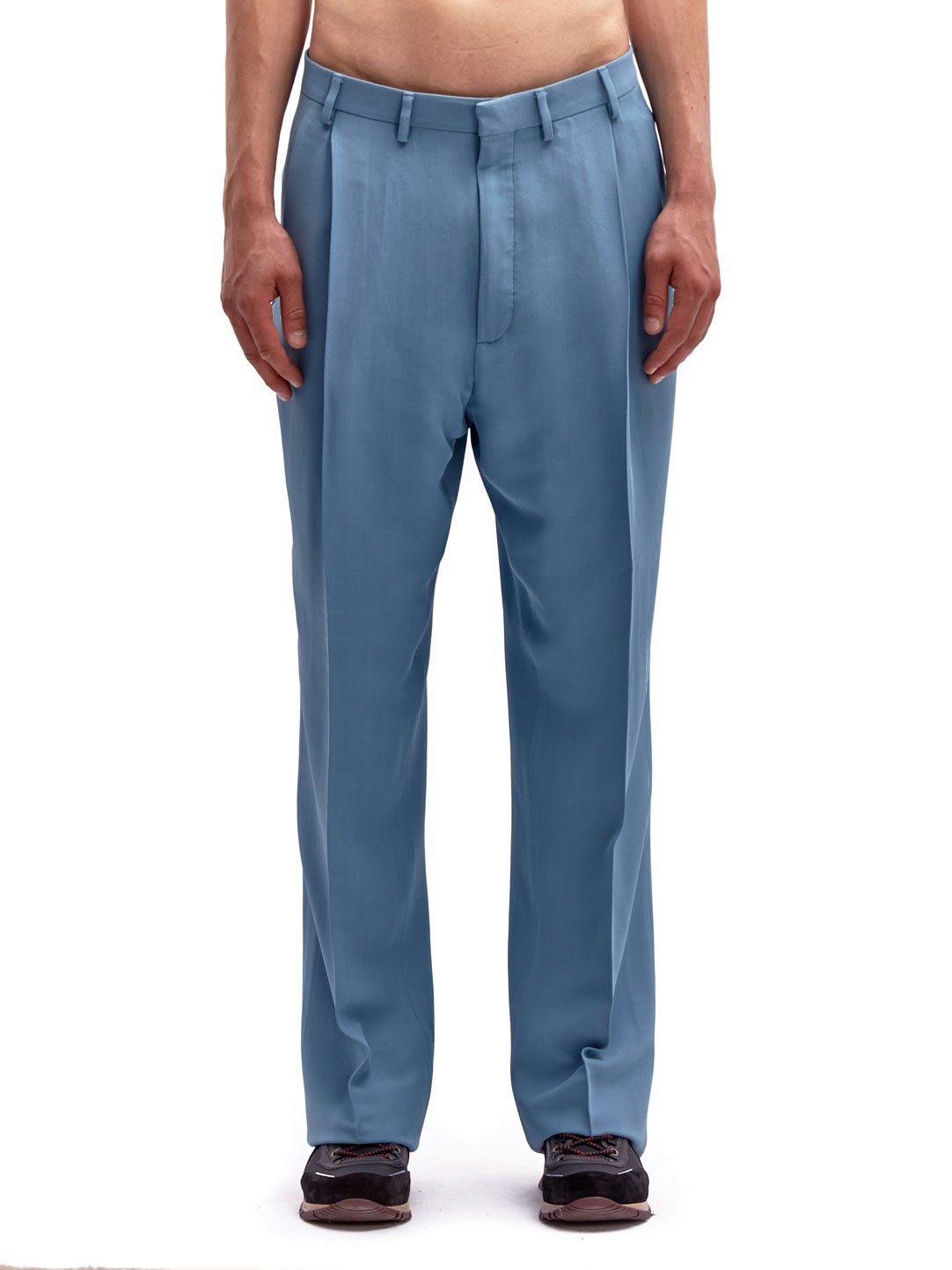 Lanvin Synthetic Mens Technical Wide Pleated Pants In Blue