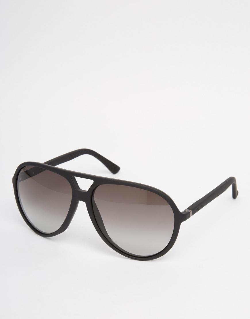 44144a13 Gucci Aviator Sunglasses In Black for men