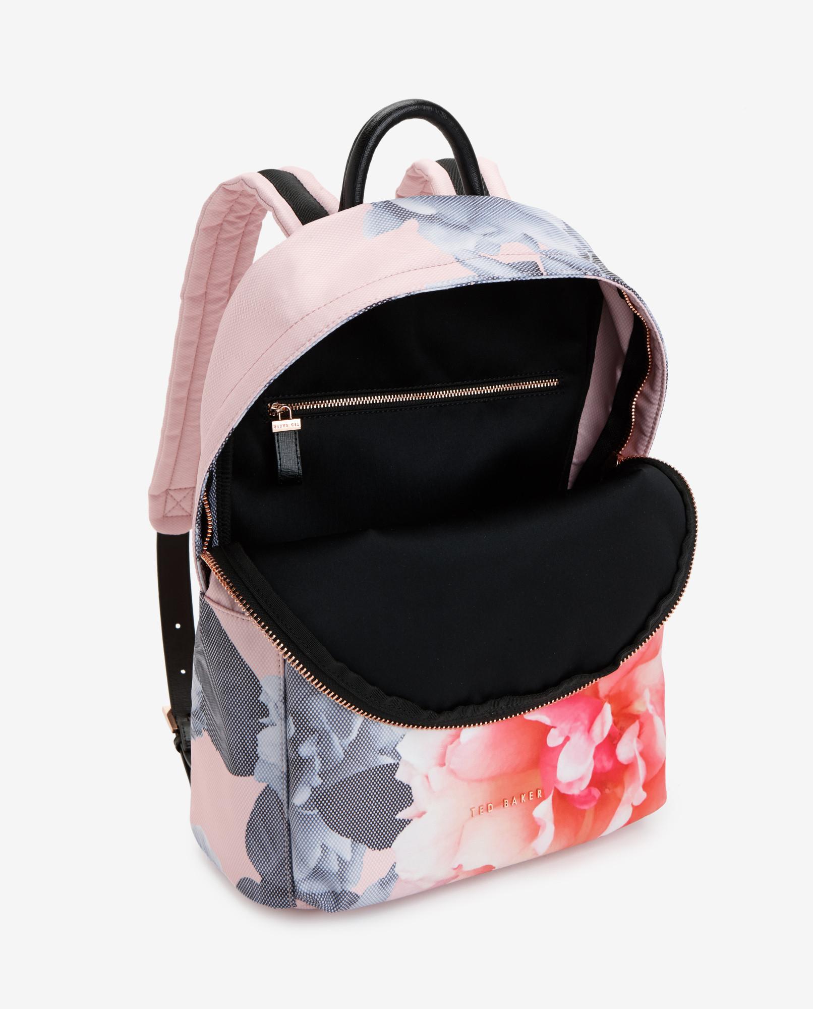 ted baker monorose print backpack in multicolor nude pink. Black Bedroom Furniture Sets. Home Design Ideas